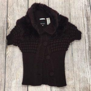 Miss Sixty Diamond Maroon Sweater Size XS Foe Fur